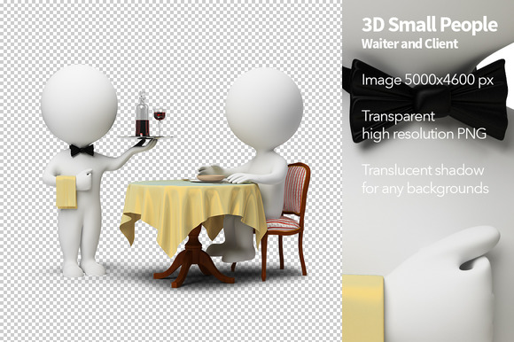 3D Small People Waiter And Client