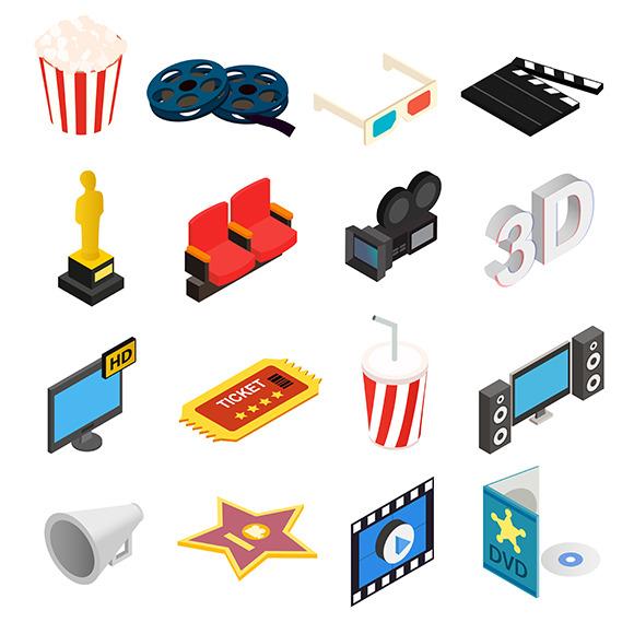 Cinema Isometric 3D Icons Set