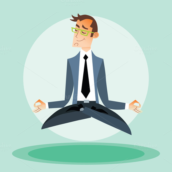 Businessman Engaged In Yoga