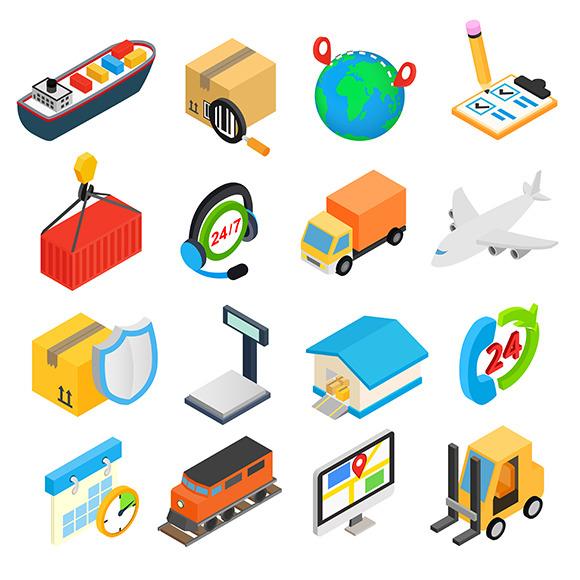 Logistics Isometric 3D Icons