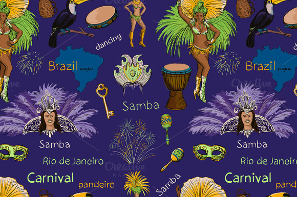 Brazilian Carnival Seamlees Pattern