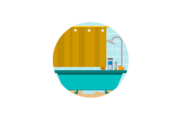 Bathroom Round Flat Vector Icon