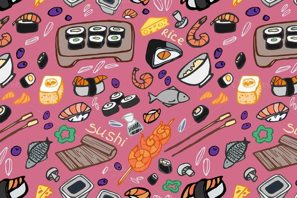 Japanese Food Sushi Doodle Pattern
