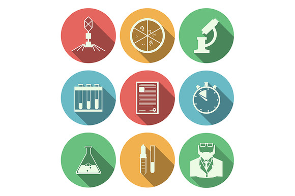 Microbiology Color Vector Icons Set