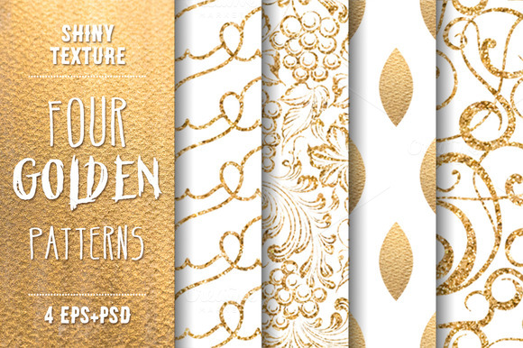 Shiny Gold. Set of 4 patterns. - Graphics