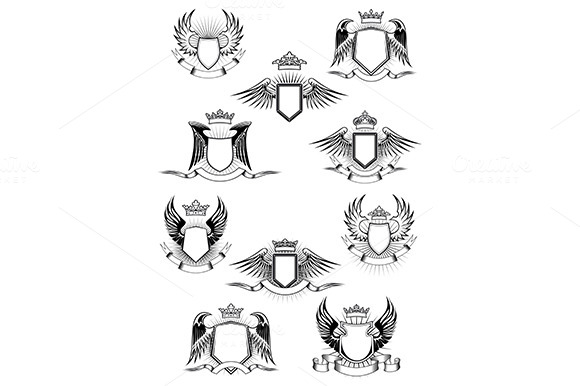 Heraldic Winged Shields With Crowns