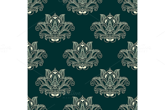 Seamless Abstract Paisley Flower Bud