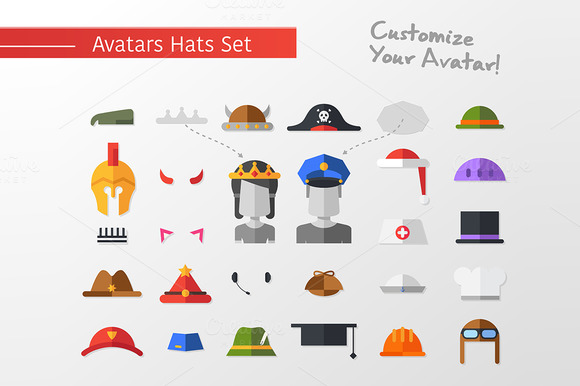 Flat Design Hats Caps For Avatars