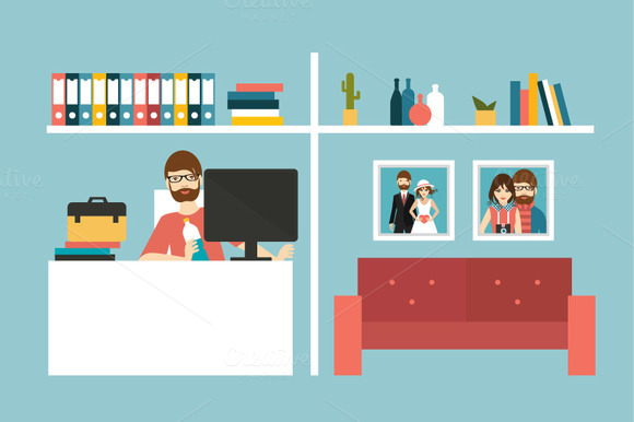 Home office. Man work day at home in - Illustrations