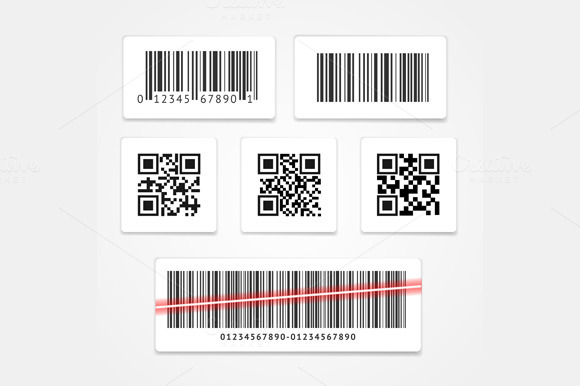 Barcode Tag or Sticker Set. Vector - Illustrations