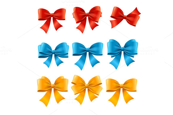 Satin Colorful Bow Set. Vector - Objects