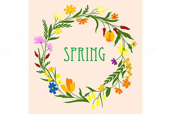 Greeting Card Template With Spring W