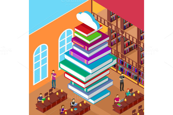 Isometric Library. Stack Books - Illustrations
