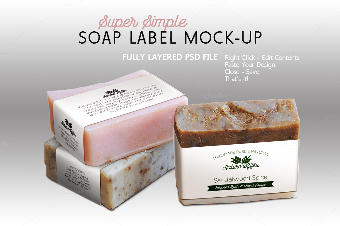 Soap Label Mock Up Horizontal Templates On Creative Market