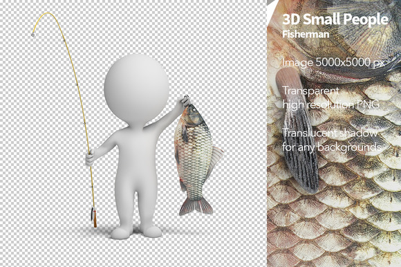 3D Small People Fisherman