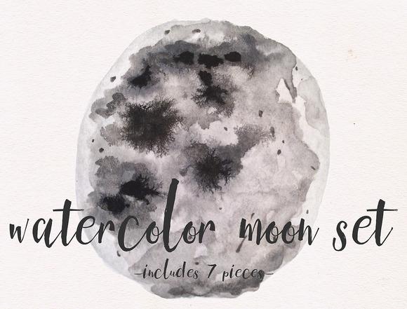 Watercolor Moon Set