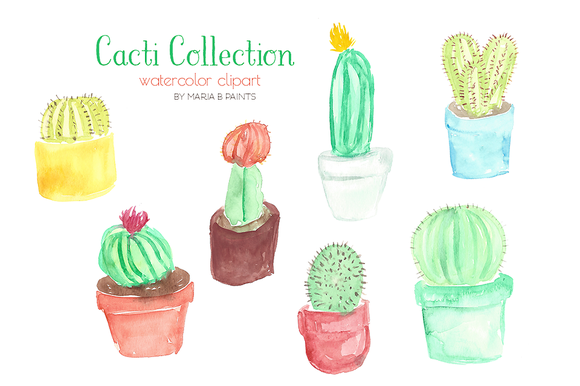 Watercolor Clip Art Cacti