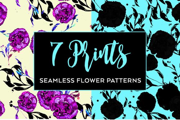 Set Stylish Seamless Floral Pattern