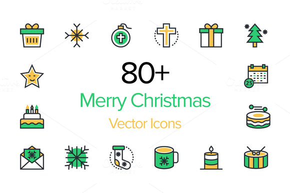 80 Merry Christmas Vector Icons