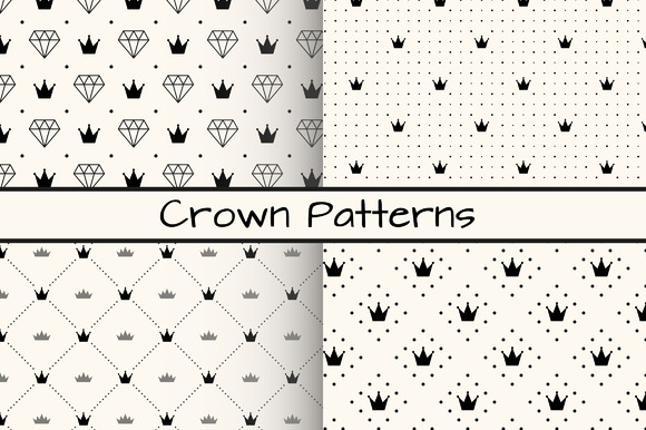 4 Monochrome Crown Patterns
