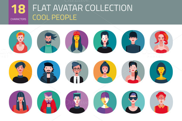 Flat Avatar Collection. Cool People - Illustrations