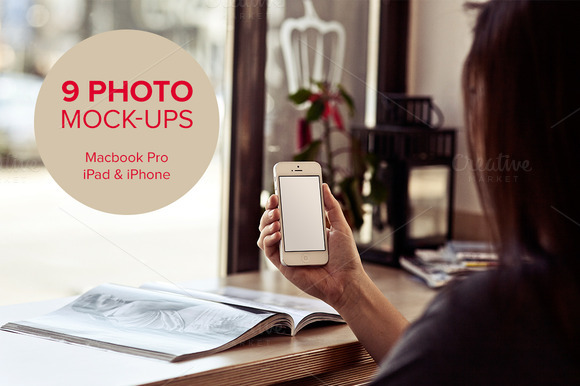 9 photo mock-ups - devices - vol.2 - Product Mockups