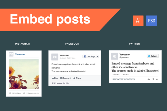 fb twitter amp instagram embed posts web elements on