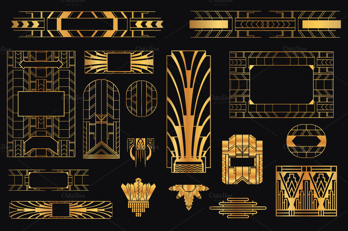 31 art deco design elements vol 2 illustrations on for Deco 5 elements