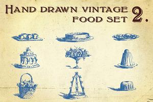 Hand Drawn Vintage Food Set 2