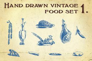 Hand drawn vintage food set 1.