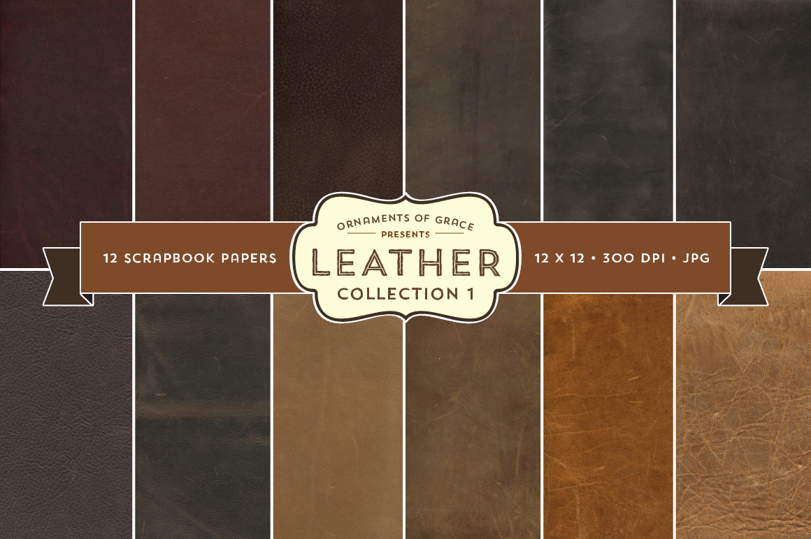 12 Leather Scrapbook Papers 12x12 Textures On Creative