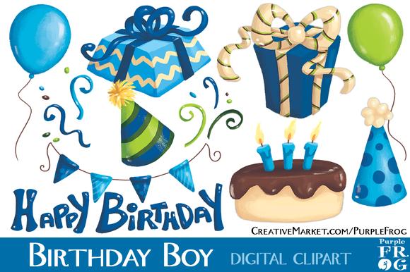 BIRTHDAY BOY - Digital Clipart ~ Illustrations on Creative ...