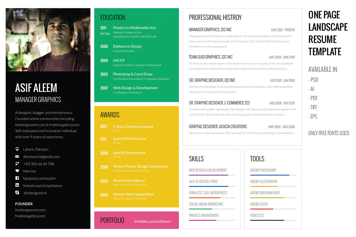 Landscape Resume Cv Template Resume Templates On