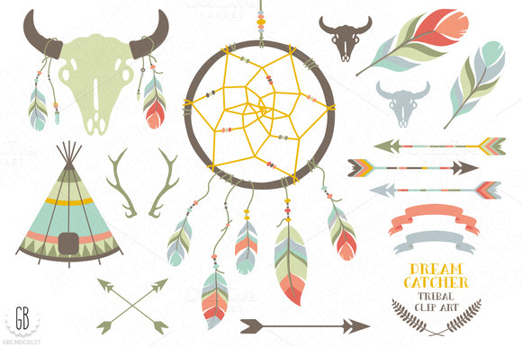 Dream catcher bison skull feathers illustrations on for Dream catcher graphic