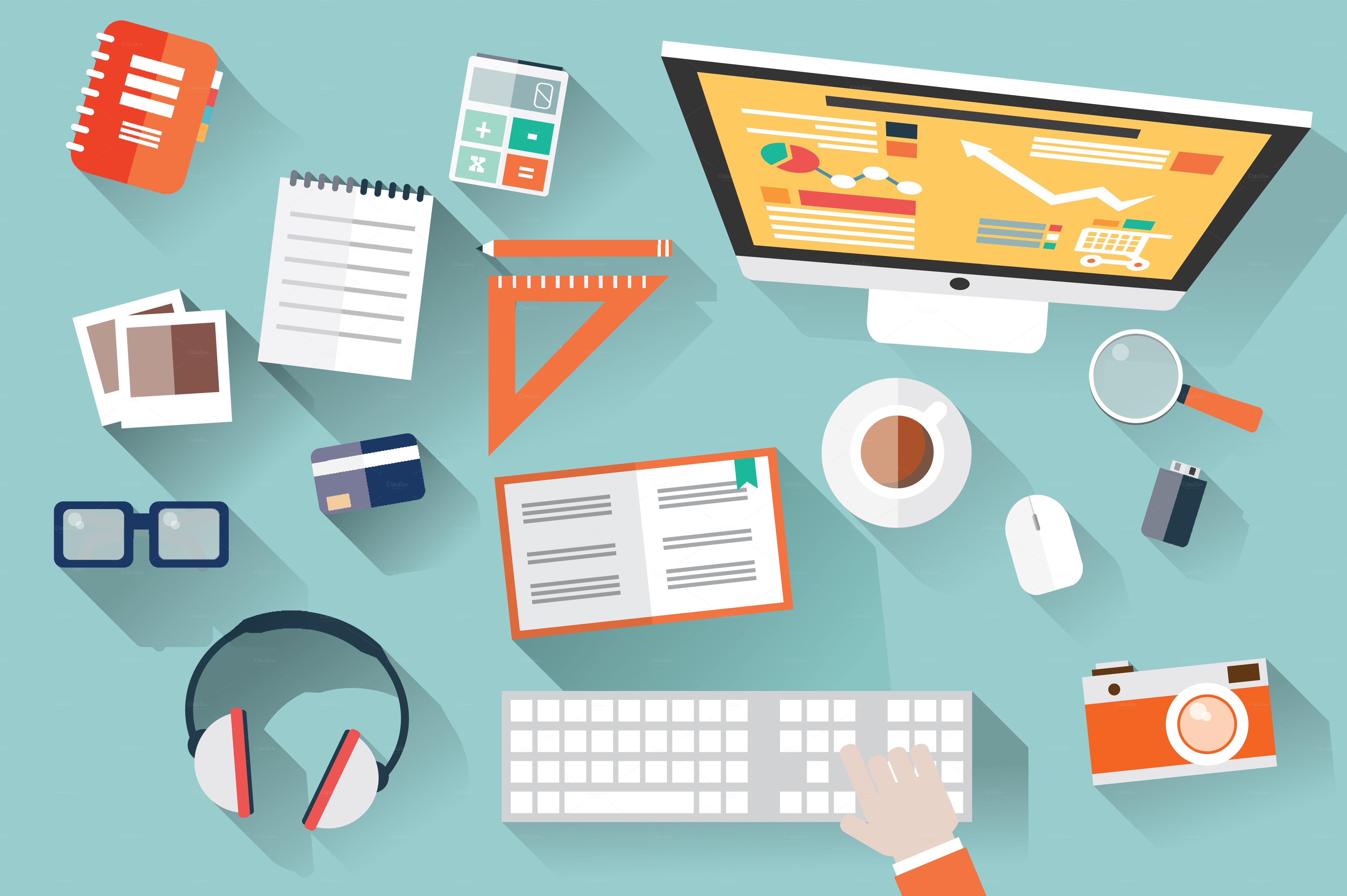 Flat Design Office Desk ~ Illustrations on Creative Market