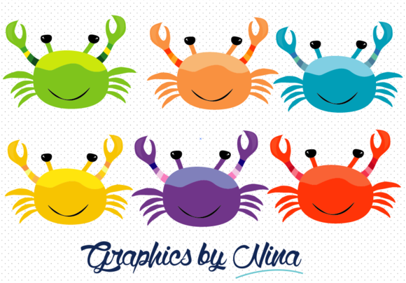 Colorful Crabs Clipart Illustrations On Creative Market