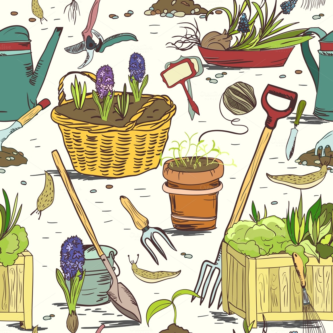 seamless garden tools patterns illustrations  creative