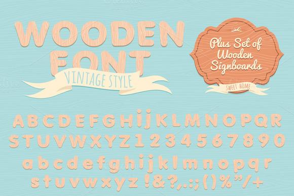 Vintage wooden alphabet. Flat style - Illustrations