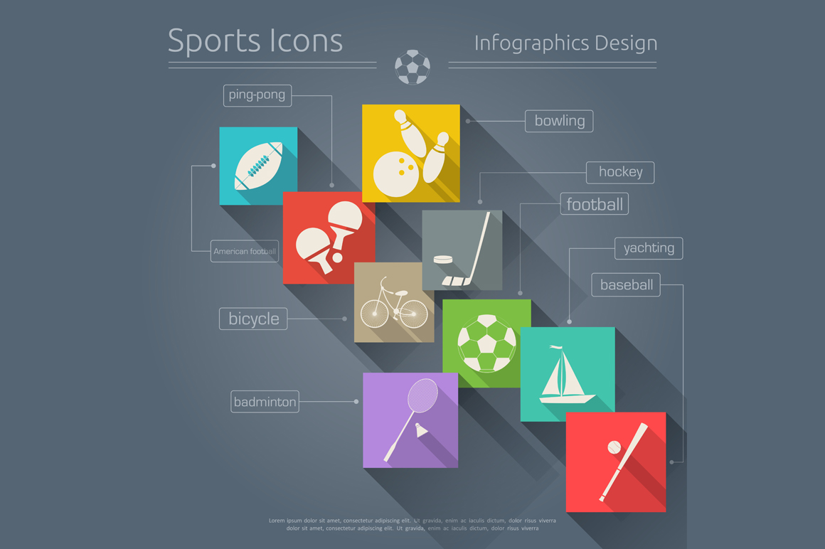 Flat sports icons set illustrations on creative market for Sports infographics templates
