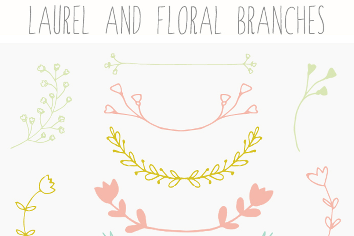 Laurel Clip Art and Floral Branches ~ Illustrations on Creative Market
