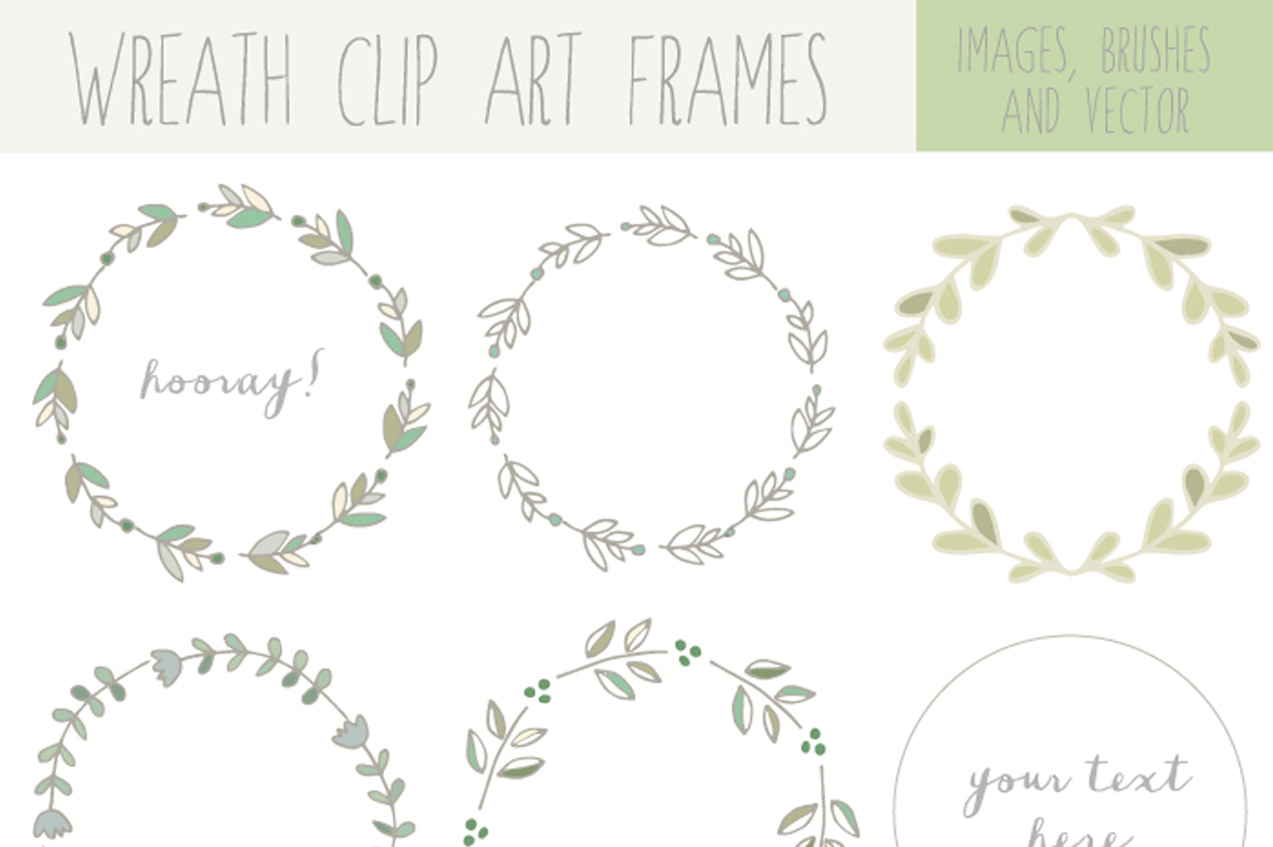 Handdrawn Laurel Wreath Clip Art ~ Illustrations on Creative Market