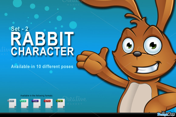 Brown Easter Rabbit Set 2