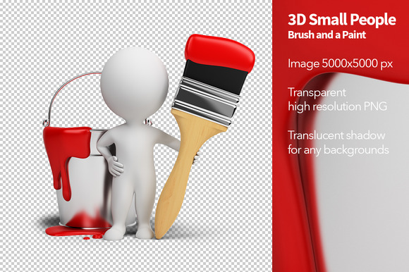 3D Small People Brush And A Paint