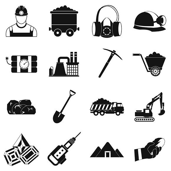 Mining Icons Simple Set