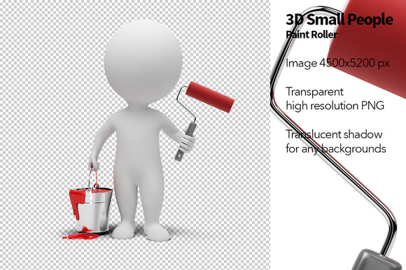 3D Small People Paint Roller