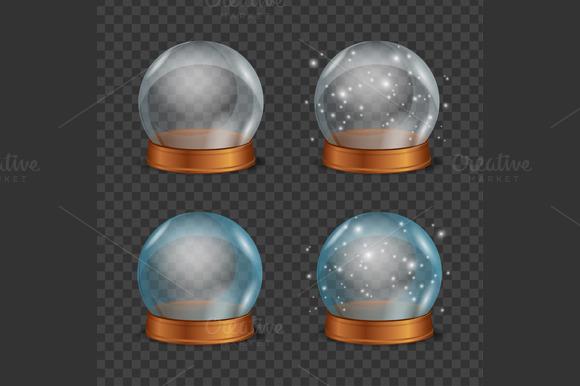 Empty Magic Crystal Ball Set Vector