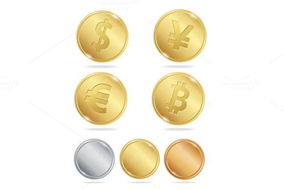 Gold Coins Dollar Euro Bitcoin Yuan