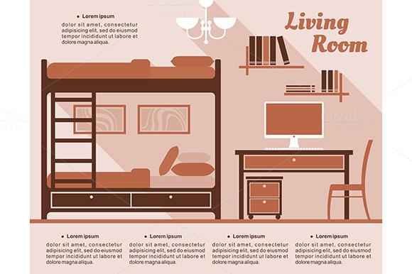 Living Room Interior Decor Infograph