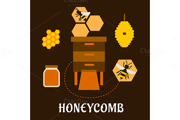 Beekeeping Flat Infographic With Bee