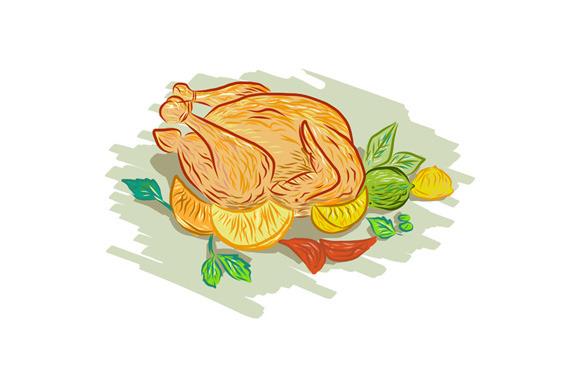 Roast Chicken Vegetables Drawing